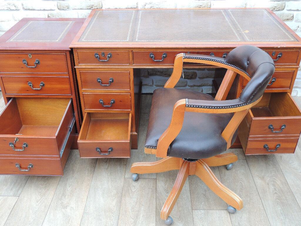 Burr Vintage Antique Style Desk + Pedestal + Chair Chesterfield (Delivery)