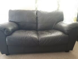 Brown leather look 2 and 3 seater sofa