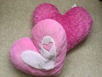 2 Love Heart Pink Cushions