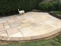 Just over 16m2 of buff sandstone paving. Less than £15 per m2