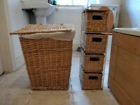 Bathroom laundry basket and storage unit