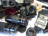 Mixed Camera Equipment: Sigma 300mm + Helios 150mm + Pentax 50mm Lens, Filters, Flash, Weston Master