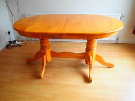 Dining room table and 6 chairs including 2 carver chairs