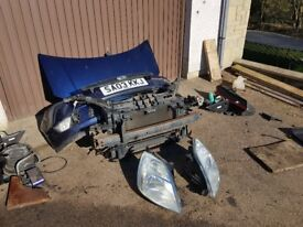 03 Mk6 Ford Fiesta navy blue front end breaking spares bonnet bumper radiator slam panel headlights