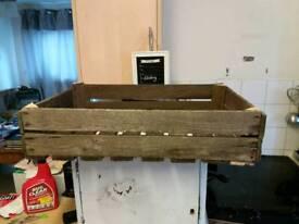 Vintage slatted wooden crate