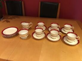"""Fine bone china coffee and side plate set Elizabethan """"Mayfair"""" Red cream gold"""
