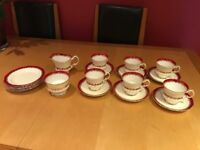 "Fine bone china coffee and side plate set Elizabethan ""Mayfair"" Red cream gold"