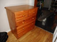 small pine five drawer chest of drawers