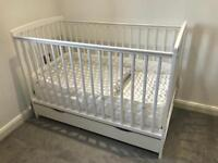White cot/toddler bed with storage drawer, mattress & extras