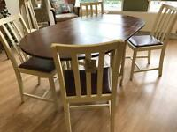 LOVELY OAK DROP LEAF DINING TABLE AND CHAIRS