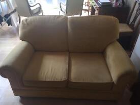 2 seater chenille gold sofa
