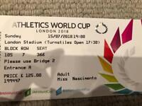 2 x World Cup Athletics tickets 15 July 2018 - near front row seats for below face value!