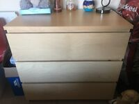 Ikea Malm chest of drawers in Beech