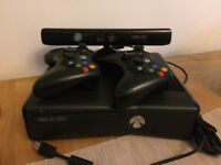 XBox 360 250Gb with Kinect, 2 controllers and games