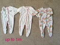 3 next baby girl sleepsuits size up to 1m