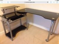 Glass and metal desk, in good condition