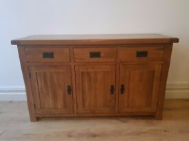 Large Solid Oak Side Board (Oak Furniture Land) Perfect Condition. Collection Only