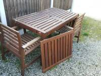 Ikea wooden extendable garden table and 6 chairs.