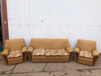 1970s Leatherette Rexine Settee and armchairs