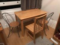 Set of dinner table and 3 chairs solid pine and wire frame