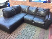 DFS dark brown leather corner sofa in good condition