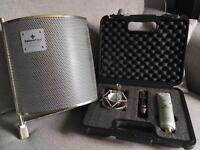 Studio condenser microphone (editors keys) and portable vocal booth