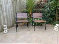 GARDEN CHAIRS - CAST IRON AND WOOD.