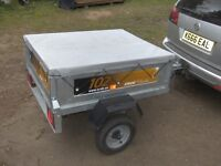 2013 ERDE 102 CLASSIC GALV (4X3 APPROX) CAR TRAILER WITH FITTED COVER..