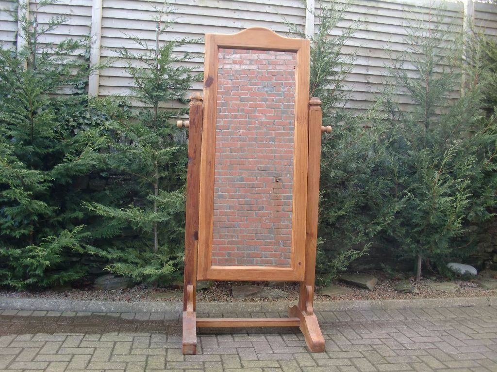 Large Solid Pine Free-Standing Mirror