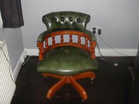 GREEN LEATHER CHESTERFIELD CAPTAIN'S CHAIR