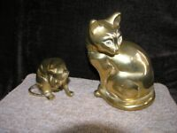 Pair Of Heavy Brass Cats Weymouth Free Local Delivery