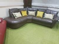 Gorgeous brown leather corner sofa