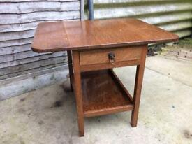 Solid oak drop leaf side table hall table
