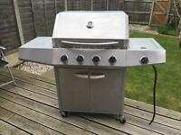 4 Burner Stainless Steel Gas BBQ Barbecue with side burner stove.