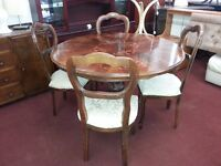 Vintage Round Mahogany Inlaid Dining Table and 4 Balloon Back Chairs