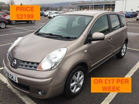 2008 NISSAN NOTE 1.4 ACENTA / NEW MOT / PX WELCOME / FINANCE AVAILABLE / JUST SERVICED / WE DELIVER