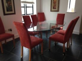 Glass Dining table and 8 chairs - terrific condition