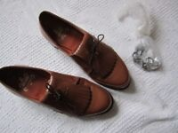 Golf shoes - Ladies Vintage Stylo Matchmakers 7864 tan leather golf shoes with removable spikes in..