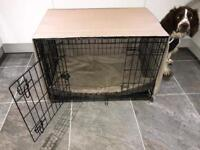 Medium dog crate, bed and cover