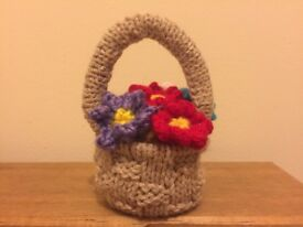 made to order: Knitted basket of flowers