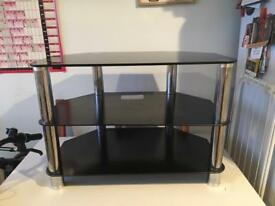 Small black glass tv unit