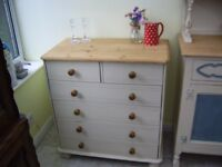 PINE CHEST OF DRAWERS PAINTED ANNIE SLOAN OLD OCHRE VGC