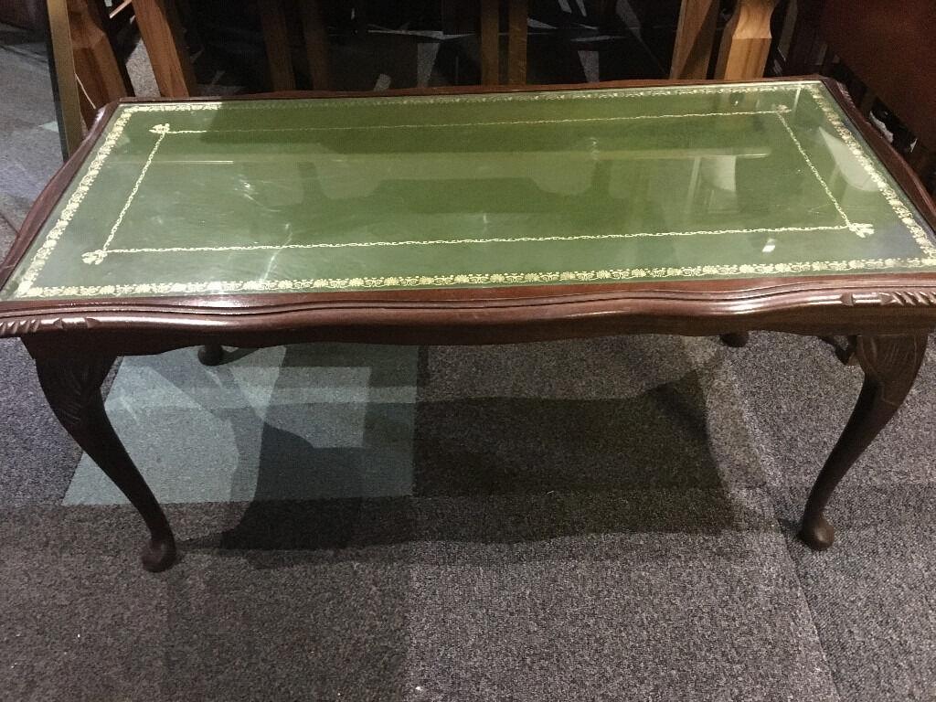 Furniture Legs Edinburgh attractive vintage mahogany glazed top, green leather insert