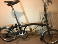 Black Brompton fold-up bicycle - 3 gears (M3L) - Fully serviced - Brooks seat & lights included
