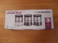 3 Piece Glass Jar Set Sugar Coffee Tea Brand New