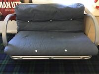Bed settee. Blue. Metal action