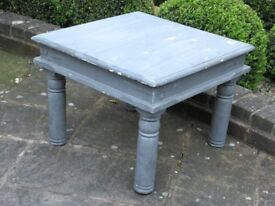 Very sturdy, good quality heavy wood grey chalk painted coffee table/side table with iron work