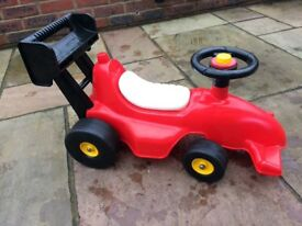 Toddler ride on racing car with push along handle
