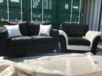 NEW Crushed Velvet Black Crushed Velvet Sofa + Armchair DELIVERY AVAILABLE
