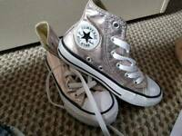 Girls rose gold converse size 11 like new